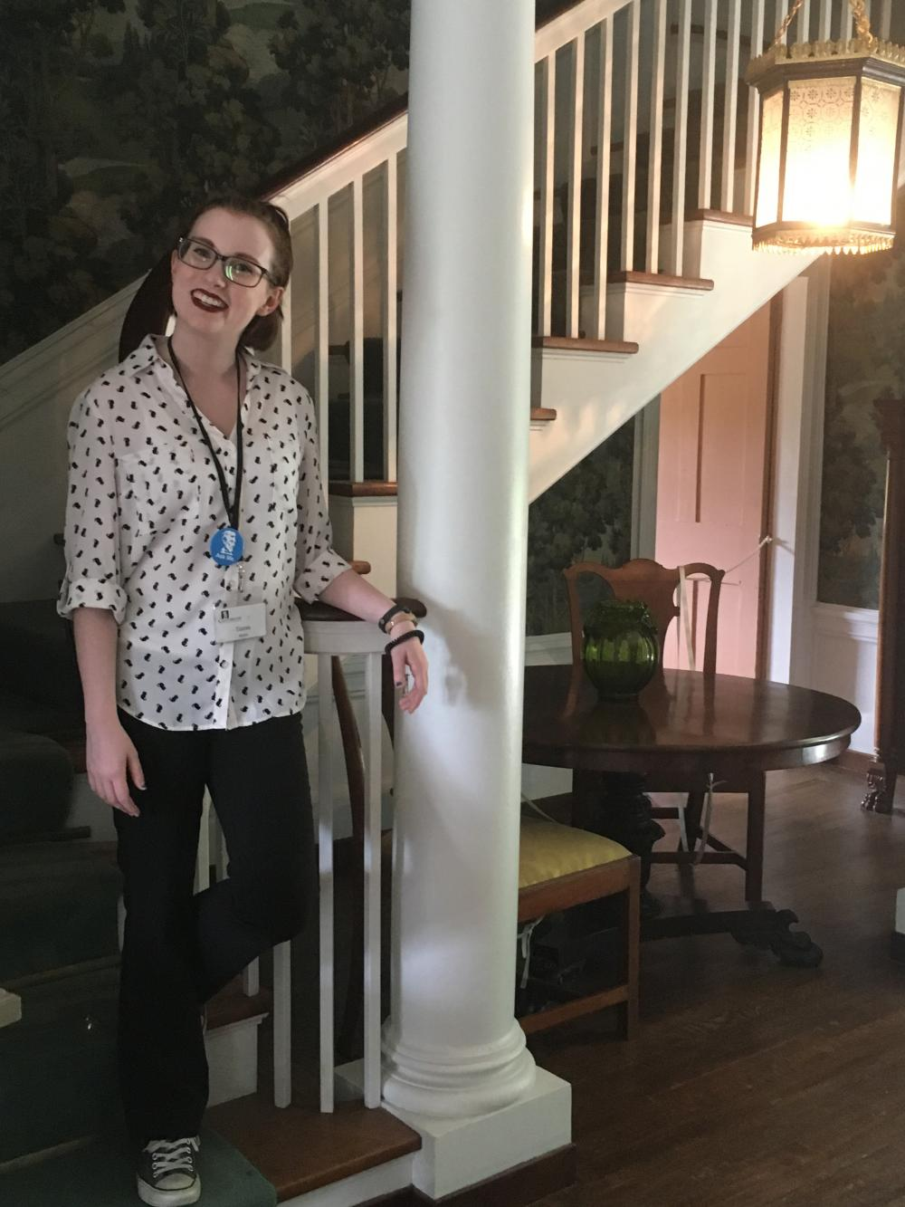 Tianna in the entry hall of Daniel Chester French's former house at Chesterwood, 2018