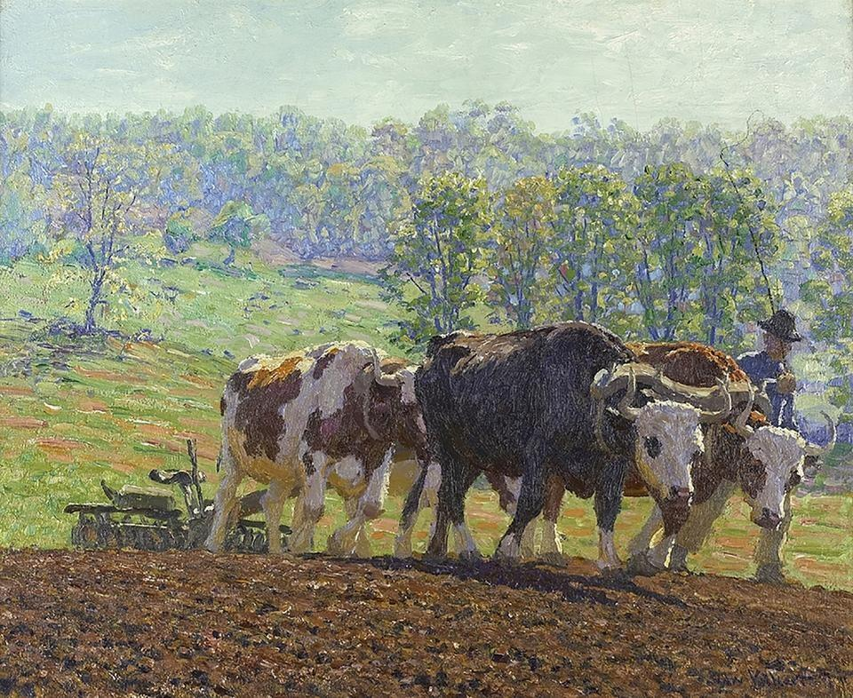 """Harrowing,"" oil on canvas, by Edward C. Volkert (1871–1935)"