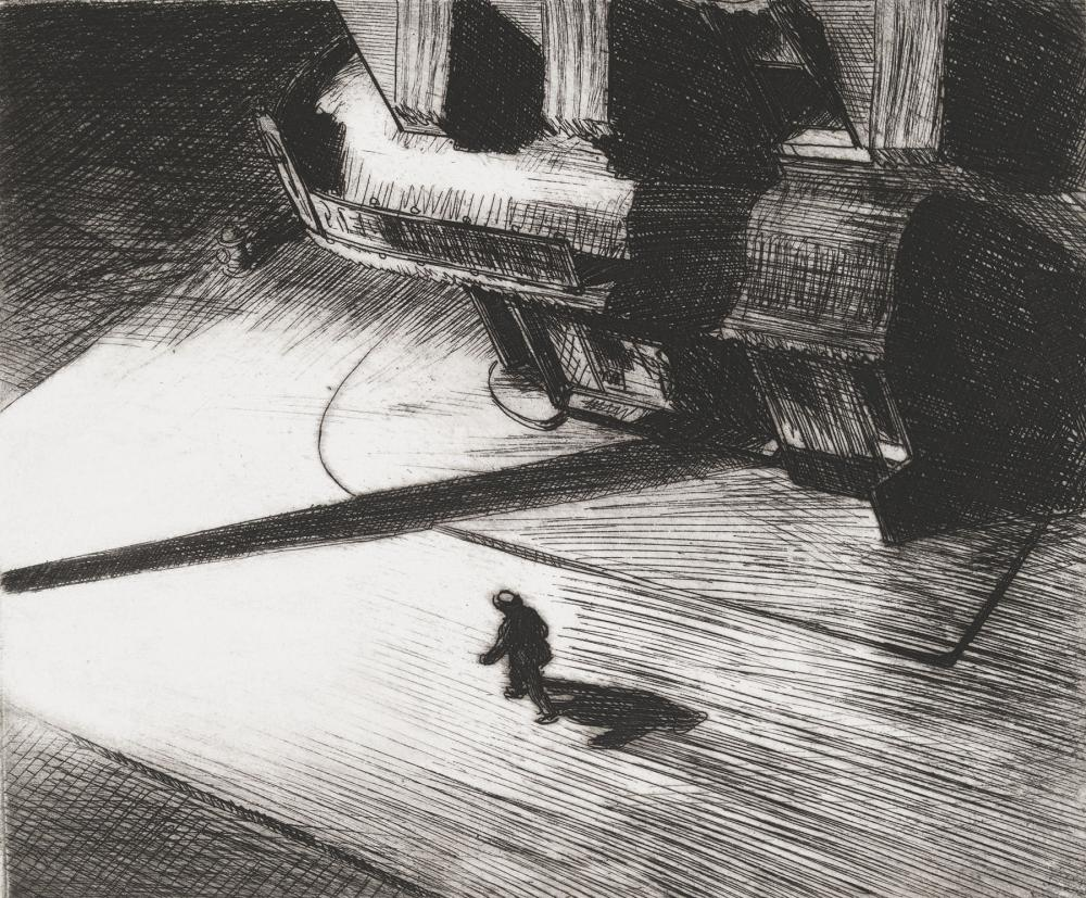 Edward Hopper (1882-1967), Night Shadows, 1921. Etching: sheet, 12 × 15 15/16 in. (30.5 × 40.5 cm); plate, 6 7/8 × 8 1/4 in. (17.5 × 21 cm). Whitney Museum of American Art, New York; Josephine N. Hopper Bequest 70.1047. © Heirs of Josephine N. Hopper, lic