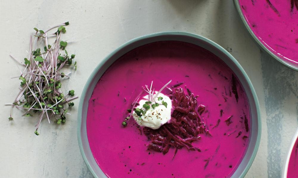 Brightest borscht with sour cream and fresh dill from Robyn Lea's book on Georgia O'Keeffe's favorite recipes. Photograph: Bec Cole/Deb Kaloper