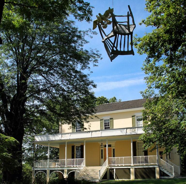 """Kiki Smith's """"Homecoming,"""" a sculpture from 2012, hangs in front of the Thomas Cole National Historic Site in Catskill as part of her exhibition there. Credit Thomas Cole National Historic Site"""