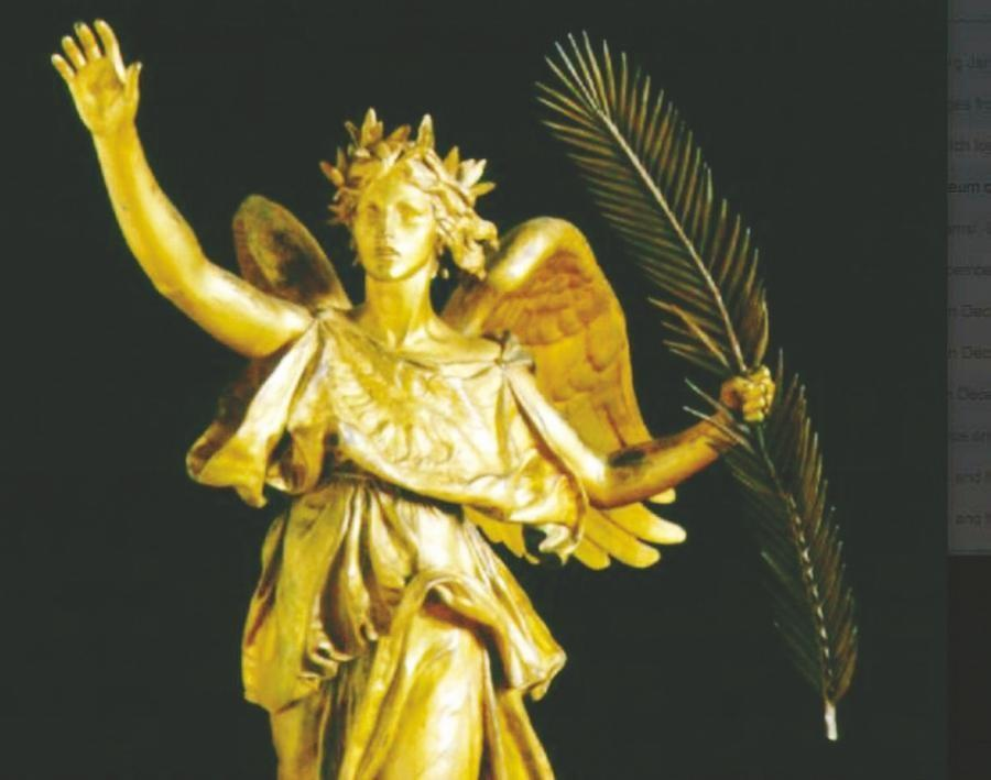 "This bronze sculpture by Augustus Saint-Gaudens is called ""Victory."" It is shown courtesy of the Saint-Gaudens National Historic Site in Cornish."