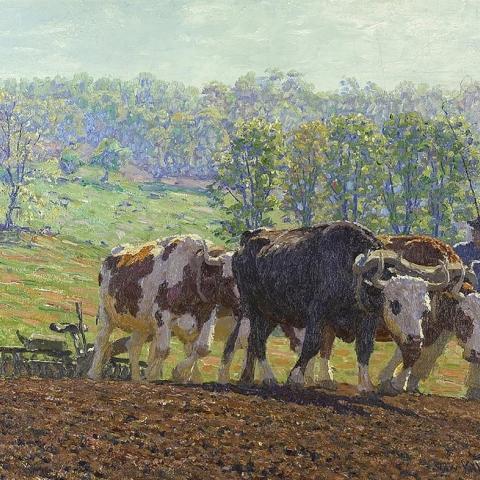 """""""Harrowing,"""" oil on canvas, by Edward C. Volkert (1871–1935)"""