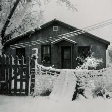 Eugene Street house in snow.