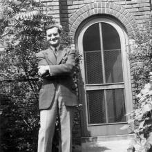 Vance Kirkland on June 5, 1941 in front of his Kirkland School of Art (active 1932–1946), also used as his studio.