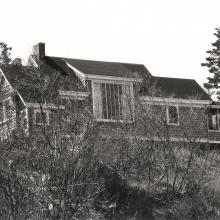 Kent—Fitzgerald Historic Artists' Studio, undated. View from the meadow showing the north-facing studio window. Unknown photographer, Fitzgerald Legacy Archives.