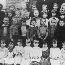Edward Hopper with his class at the Liberty Street School, ca. 1889.  Edward is standing in the second row, third from left.  Edward Hopper House Museum & Study Center