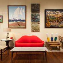 Kirkland Museum Italian Modern Vignette featuring the Bocca (Lips) Sofa (1970–1972) designed by Studio65; Coffee Table (1950s), Lounge Table (c. 1964) and Superleggera Chair (1957) designed by Gio Ponti; Nesting Tables (1951)