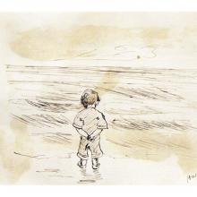 "Edward Hopper, ""Little Boy Looking at the Sea,"" n.d., Ink on paper The Arthayer R. Sanborn Hopper Collection Trust – 2005 Hopper drew this picture on the back of his report card dated October 23, 1891"