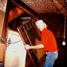 17.David Ireland working inside 500 Capp Street, c.1976; photo: Steven Kayfetz; image courtesy of The 500 Capp Street Foundation.