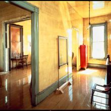 20.View of upstairs hallway with Three-Legged Chair (1978) and Delection (1980), 1981; photo: Henry Bowles; image courtesy of The 500 Capp Street Foundation.