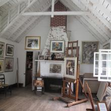 Kent—Fitzgerald Historic Artists' Studio, 2014. View of studio interior showing Fitzgerald's easel. Fitzgerald Legacy Archives.