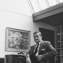 Vance Kirkland, 1957, inside his art school and studio at 1311 Pearl Street, Denver.