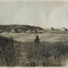 View from Horn's Hill, 1907. The view from Kent's Monhegan homestead, 1907. Mary Kelsey Album, MMA&H, Gift of Lois Herndon, 1992.