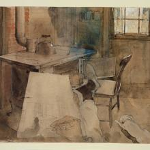 Rockwell Kent, Interior of a Cottage, Monhegan Island, 1907. Watercolor and graphite, heightened with white opaque watercolor, on tan wove paper,  10 1/2 x 7 1/2 in., Philadelphia Museum of Art, © Plattsburgh State Art Museum
