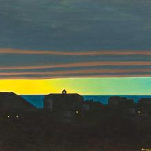 Rockwell Kent, Village at Night, ca. 1950. Oil on panel, 12 x 16 inches, MMA&H, Gift of Remak Ramsay, 2012.