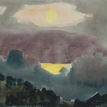 James Fitzgerald, Sun Over Manana, ca. 1960s. Watercolor on Whatman paper, 20 x 25 1/4 in., Private collection, with permission.