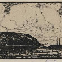 Rockwell Kent, Monhegan 1906.  Brush and black ink on paper, 5 1/8 x 5 3/4 in. MMA&H, Gift of Rockwell Kent, 1970.