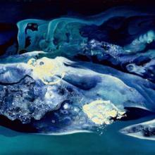 "Fantasy, by Vance Kirkland, 1953, oil paint & water on linen, 16"" x 36.""  This is the first work to use Kirkland's oil paint and water mixture.  Collection of Kirkland Museum of Fine & Decorative Art, Denver, CO."