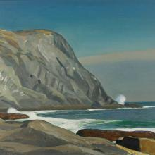 Rockwell Kent, Whitehead, Monhegan, ca. 1950. Oil on panel, 12 x 16 in., MMA&H, Gift of Remak Ramsay, 2008.