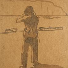 Rockwell Kent, Untitled (Self-portrait), ca. 1910 Sepia wash drawing, 10 1/2 x 8 1/4 in. MMA&H, Gift of Rockwell Kent, 1970.