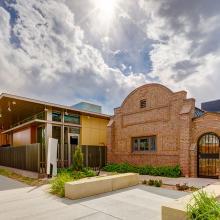 Kirkland Museum of Fine & Decorative Art, Denver, featuring Vance Kirkland's historic brick studio & art school building at right.
