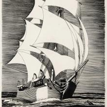 Rockwell Kent, The Pequod, 1929. Black ink on paper, 10 x 7 in., James Fitzgerald Legacy.
