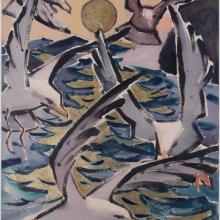 James Fitzgerald, Golden Sea and Gulls, 1950s. Watercolor and Chinese ink with gold leaf on paper, 30 1/2 x 22 1/2 in., James Fitzgerald Legacy.