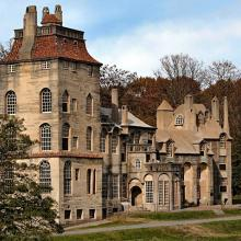 Fonthill Castle Exterior: Courtesy of Mercer Museum and Fonthill Castle, photography by Rosemary Taglialetela