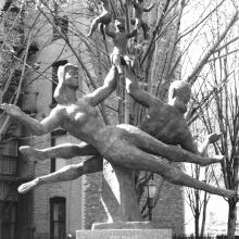 """The Family"", 1979, bronze, 90 inches high, installed at Bleecker Street Playground in Manhattan, New York City; collection of the New York City Department of Parks & Recreation. Photographer unknown, 1991."
