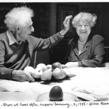 Chaim and Renee Gross at the dining table on the third floor, the Renee & Chaim Gross Foundation. Credit: © Allen Ginsberg, 1988.