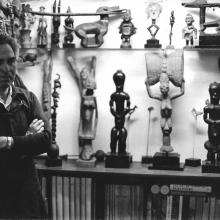 Chaim Gross with a selection of works from his extensive African Arts collection, third floor of the Renee & Chaim Gross Foundation. Photographer unknown, 1965.
