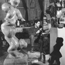 Chaim Gross posed in his Ninth Street studio. Credit © Alfredo Valente, c. 1938.