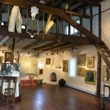 Interior of Sharp's 1915 studio, restored in 2017 and hosting a permanent rotating collection of his work.