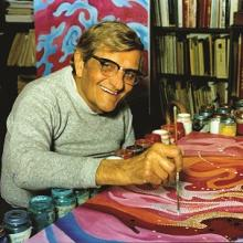 From the last set of photos taken of Vance Kirkland, April 1981, at his studio. He is working on the last painting completed before his death on May 24, 1981, titled Forces of Energy from a Sun in the Open Star Cluster K 1.